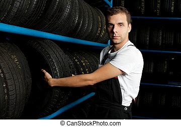 選択, 店, タイヤ, 機械工, 若い