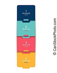 選択, banner., スケジュール, infographic., タブ, ステップ, ベクトル, デザイン, minimalistic