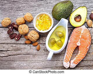 選択, e, 源, 食物, オメガ, ビタミン, 不飽和, 3, 高く, バックグラウンド。, 食物, 食事のファイバー...