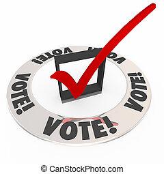 選挙, 投票, 選択, 人気が高い, 印, 選びなさい, 候補者, 箱, 点検