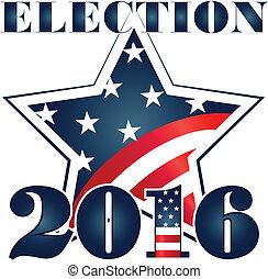 選挙, 2016, ∥で∥, usaフラグ, illustration., ベクトル, アイコン, シンボル, デザイン