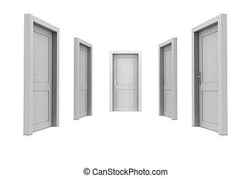 選擇, a, 灰色, 門