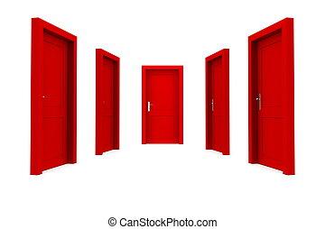 選擇, a, 紅的門