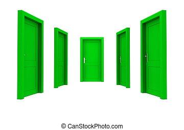 選擇, a, 綠色的門