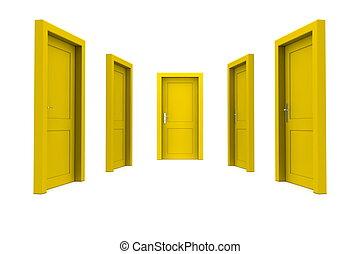 選擇, a, 黃色的門