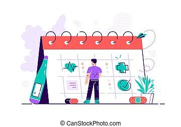 選擇, scheduling., 巨人, 日曆, 年輕, 矢量, 健康, physician., 訪問, 醫學, 深思, 關心, 可得到, 卡通, 套間, 人, 現代, illustration., 或者, 看, 任命, service., 醫生, 日期