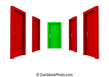 選擇, the, 權利, 門, -, 紅色和格林