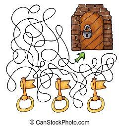 選擇, the, 鑰匙, 到, 門, -, 迷宮, 游戲, 為, 孩子