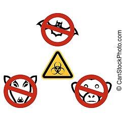 避けなさい, 止まれ, 病気, ウイルス, サイン, ebola, 順序