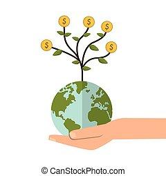 避難所, お金, 地球, 木, 手, 地球, アイコン