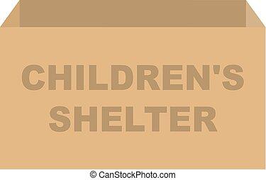 避難所, 箱, 寄付, ベクトル, childrens