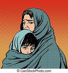避難者, 子供, 窮乏, 移住, 母