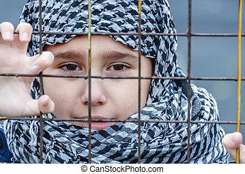 避難者, 東, headscarf, 女の子