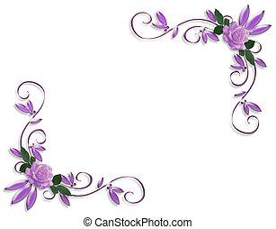 邀請, 婚禮, 邊框, 淡紫色, 玫瑰