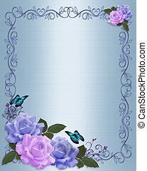 邀請, 婚禮, 邊框, 玫瑰