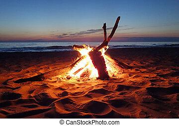 邀請, 營火, 在海灘上