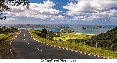 邀請, 路, 透過, 新西蘭, 農村, 由于, 藍色, 海