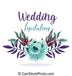 邀请, 植物群, 婚礼, 装饰, 问候, 或者, 装饰物, 卡片