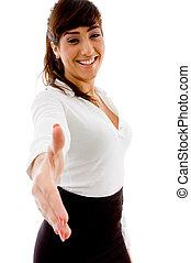 邊, 姿態, ......的, 微笑, 從事工商業的女性, 提供, 握手