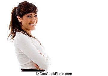 邊, 姿態, ......的, 微笑, 從事工商業的女性