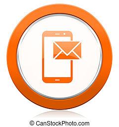 邮件, 桔子, 图标, 邮寄, 签署