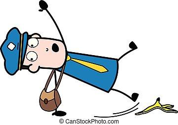 邮递员, 剥皮, -, 描述, 卡通漫画, 下来, 矢量, 信使, retro, 下降家伙, 香蕉