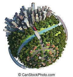 郊区, 同时,, 城市, 全球, 概念