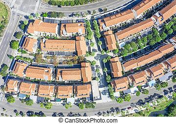 郊外, 空中写真, 家