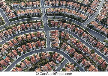 郊外, 近所, カリフォルニア, 航空写真