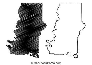 郡, ジョージア, 合併した, スケッチ, イラスト, ベクトル, 地図, murray, アメリカ, u.。s.。, us), (u.s., 落書き, 州