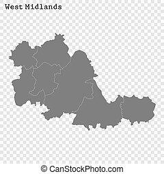 郡, 地図, 高く, イギリス\, 品質