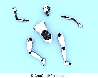 部分, の, a, 女性, ロボット, 上に, ∥, floor.