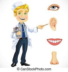 部分, 医者, -, 顔, ブロンド, 指摘, かわいい