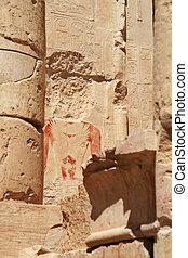 部分, 絵画壁, 顔, 盗まれた, エジプト, 古代