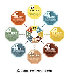 部分, infographic, 八角形