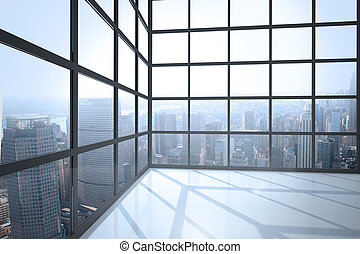 部屋, ∥で∥, 大きい, 窓, 提示, 都市