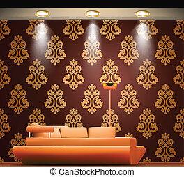 部屋, ∥で∥, a, ソファー, そして, ライト, sources., ベクトル