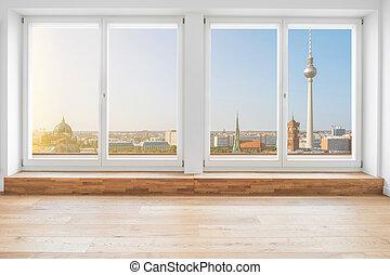 部屋, によって, 窓, ベルリン, 見る, 台地, 中, アパート, ペントハウス, 現代, スカイライン