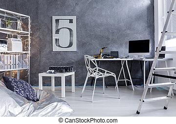部屋, はしご, 袋, 豆, minimalistic, 椅子