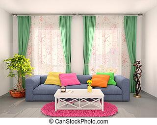 部屋, イラスト, カラフルである, 明るい, 内部, mod, 3d