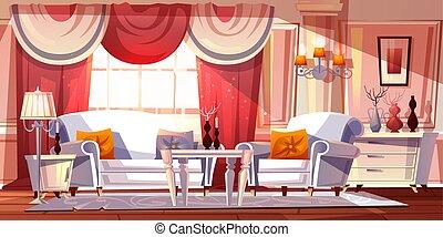 部屋, イラスト, ラウンジ, ベクトル, 贅沢, 内部