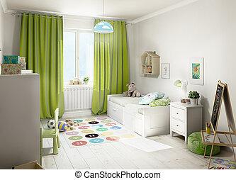 部屋, イラスト, 子供, 緑, curtains., 3d