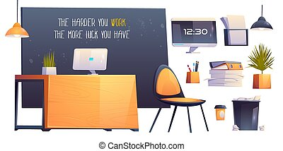 部屋, オフィス, ビジネス, 仕事場, 内部, 現代