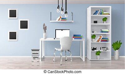 部屋, オフィス, ベクトル, minimalistic, 内部, 家