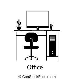 部屋, オフィス, ホテル, 内部, 家, furniture.