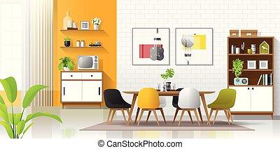 部屋, カラフルである, 現代, 食事をする, 背景, 内部