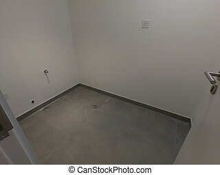 部屋, スペース, room., 空いている, 貯蔵, flooring., 暗い, コンクリート, 空, 木製である, style., 店