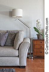 部屋, ソファー, 暮らし, 内部の 装飾, 現代, lamp., vertical.