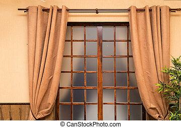 部屋, ブラウン, 前部, 窓カーテン