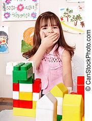 部屋, プレーしなさい, 木, ブロック, 子供